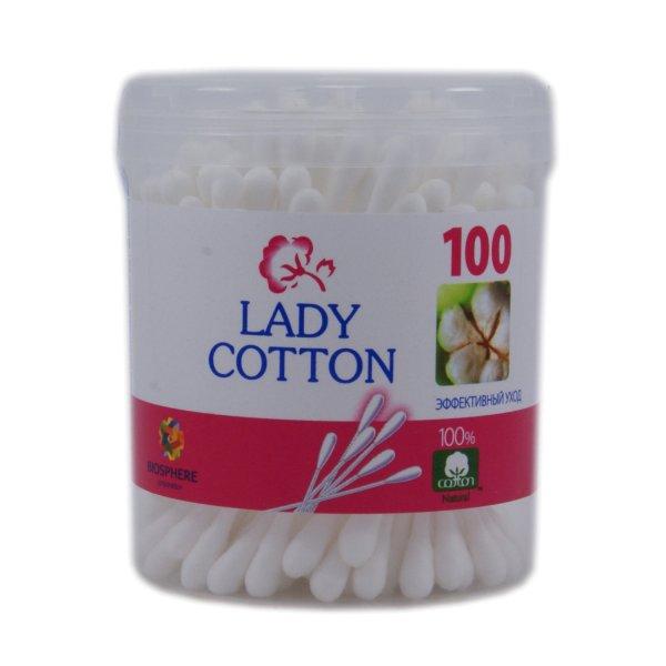 Lady Cotton Палочки ватные в круг бан 100шт