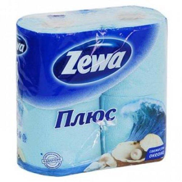 Туалетная бумага Zewa Плюс голубая 4 рулона 24