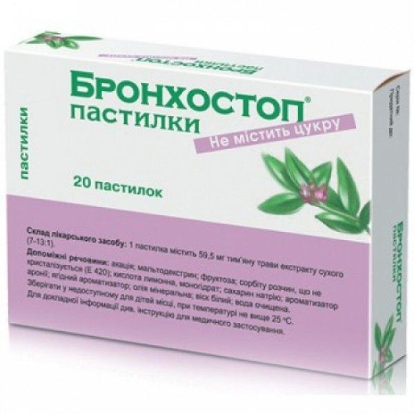 БРОНХОСТОП пастилки 59,5 мг N20