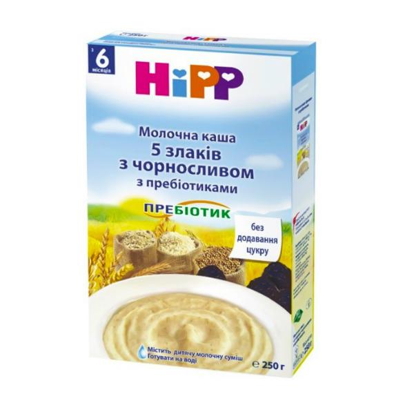 """HIPP Каша молочная с пробиотиками  """"5 злаків чернослив"""" 250г"""