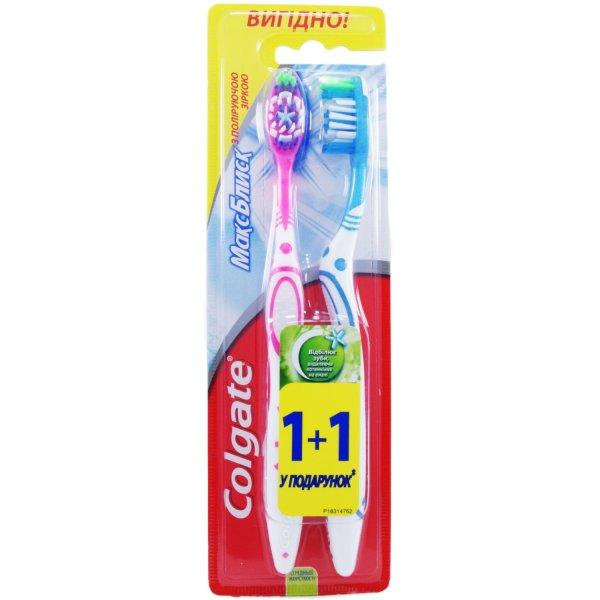 COLGATE  Зубная щетка Макс блеск 1+1 (средняя )