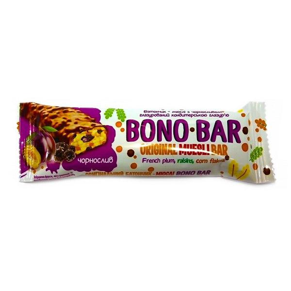 Bono-Bar батончик-мюсли с черносливом частично глазированный (фиолетовый)