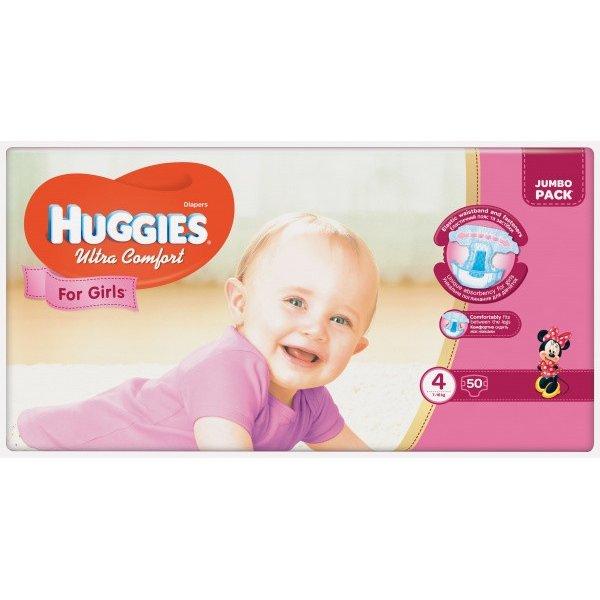 HUGGIES Ультра Комфорт (4)  50*3 GIRL