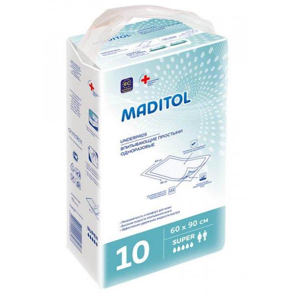 MADITOL Простирадла одноразові гігієнічні  60*90см 10шт