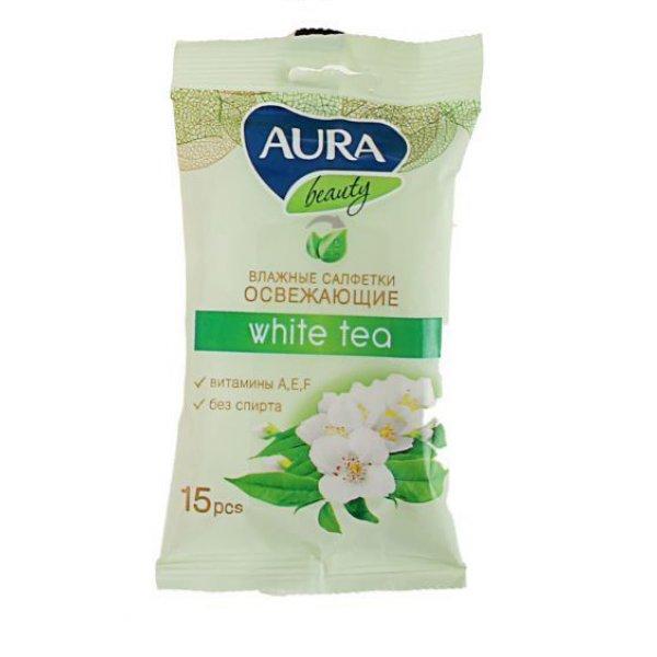 AURA Beauty Влажные салфетки (argan & sakura, pomegranate, wild rose, white teo) N15 ассортим