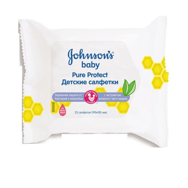 JOHNSONS влажные салфетки от 1 года Pure Protect 25 шт