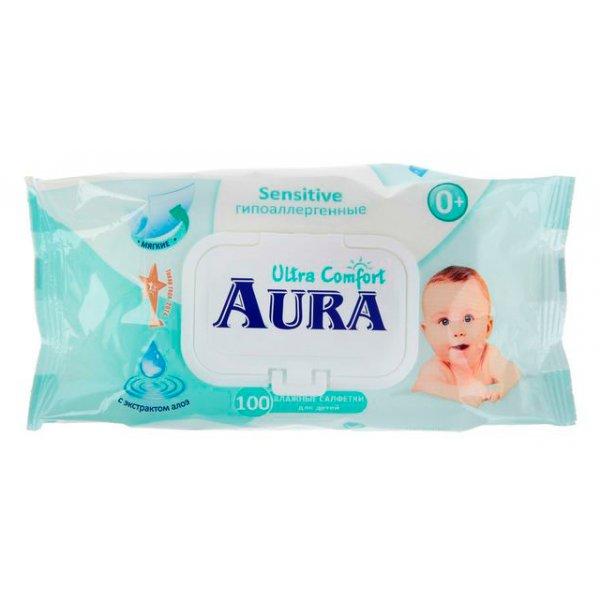 AURA Baby влажные салфетки с клапаном 100шт