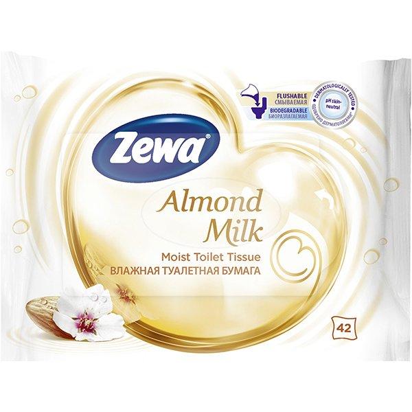 Влажная Туалетная бумага Zewa Almond Milk moist 42 аромат миндаля