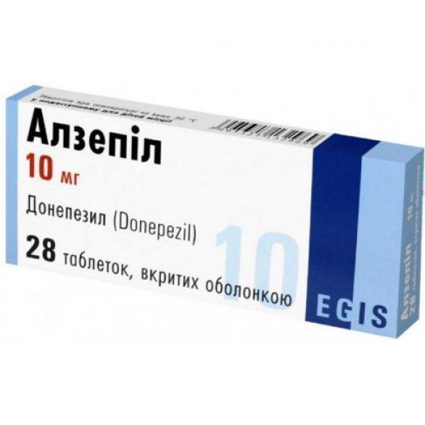 АЛЗЕПИЛ таблетки, в/о, по 10 мг №28 (14х2)