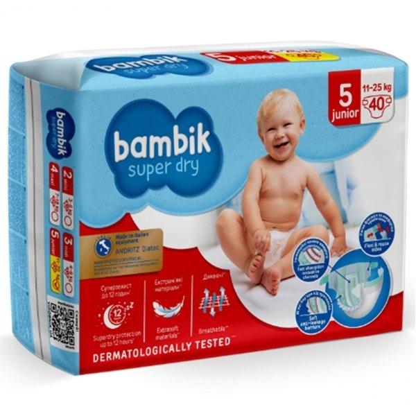 Bambik Підгузки дитячі одноразові Jumbo (5) JUNIOR (11-25 кг), 40 шт